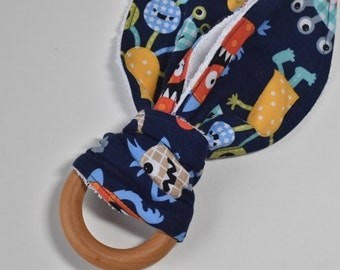 Teething ring, Wooden ring teether, bunny ear teether, baby gift, baby shower