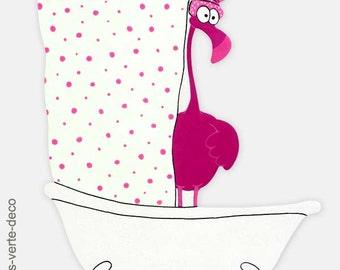 Customizable Flamingo bathroom door plate