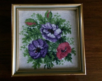 Vintage Gobelin Framed Needlepoint Picture. Framed Tapestry Picture Red and Purple Poppies ROP0109