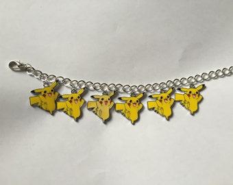 Silver Pokemon Pikachu Charm Bracelet