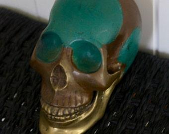 Brass Skull - Antique Green Gold - 330g