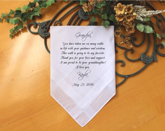 Grandfather of the Bride Handkerchief-Wedding Hankerchief-PRINT-CUSTOMIZE-Wedding gift to Grandpa-Grandfather hankie from the Bride-MS1FCAC