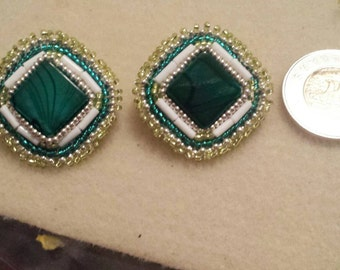 Green Handmade Stud Earrings