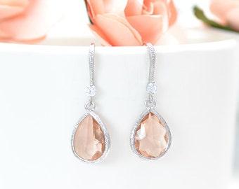 Earrings-wedding Peach - earrings-wedding Bridal earring peach - jewelry wedding fishing - bridal peach - necklace coral -.