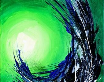 Abstract Original Art: Green Energy (Acrylic on canvas)