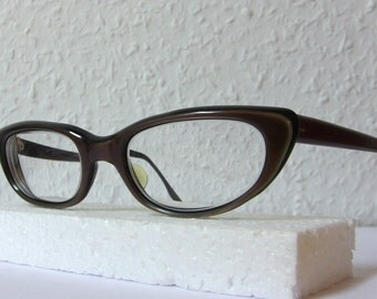 Cat Eye Glasses Glossy Pink Brown Color Oval Eyeglasses Small Sized Frame Eyewear FREE SHIPPING Rx Indo Spain New Old Stock NOS