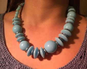 Chunky Statement Necklace  -Beautiful periwinkle blue & Silver -Vintage with a  neo-classical feeling to it