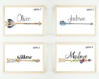 Custom watercolor arrow personalised artwork print up to extra large A1