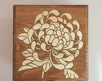 Wooden box with Chrysanthemums