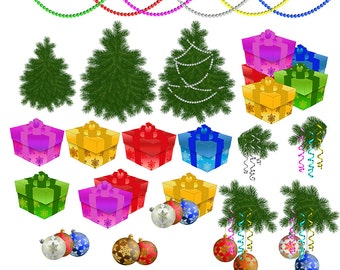 Christmas decoration Clip Art Christmas gift Clipart christmas tree clip art Digital Scrapbooking Elements Personal and Commercial Use