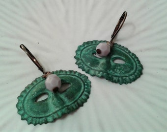 Masquerade Mask Earrings Verdigris Patina
