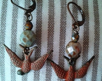 Orange Patina Swooping Bird Earrings Oiseaux Patine Boucles DOreilles