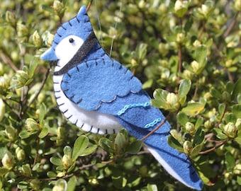 Blue Jay Felt Bird Ornament'