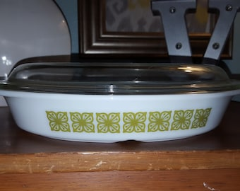 Vintage Square Flowers Divided Dish with Lid