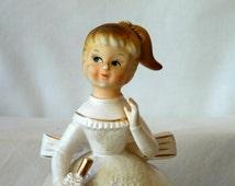 Rubens Original Ceramic Figurine Parasol Girl White/Gold Planter,586M, Vintage Girl Planter, Vintage Ball Gown Planter,Rubens Doll Planter
