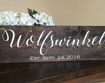 Family Name Sign, Rustic Family Sign, Farmhouse Family Sign, Family Established Sign, Family Name Wedding Present, Personalized Name Gift