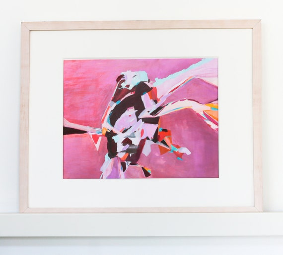 Pink Abstract Art - modern painting, original and print