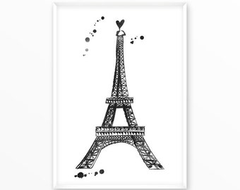 Eiffel Tower Print, Paris, printable, art, digital, Typography, Poster, Vintage, Grunge, Inspirational Home Decor, Screenprint, wall art