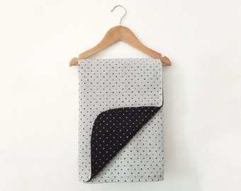 Baby Shower Baby Blanket, Black Baby Boy Blanket, Wool Baby Blanket, Woodland Nursery, Scandinavian Nursery, Newborn, Black White Polka Dots
