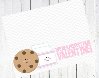 valentines day bag topper cookie milk printable - Milk & Cookie Valentine's Day Bag Topper Printable