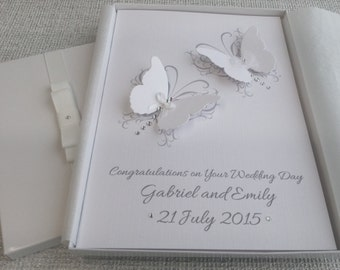 Boxed Wedding or  Anniversary Congratulations Card Handmade Personalised 3D Butterflies Keepsake from Parents Grandparents Friends