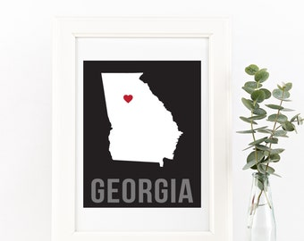 Georgia Home Print – Custom Georgia Print, Georgia Wall Art