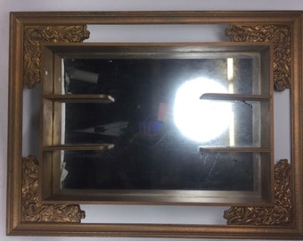Vintage Mirror Shadow Box Antique  Gold with shelfves.