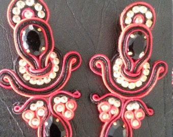 Earrings red and black Soutache