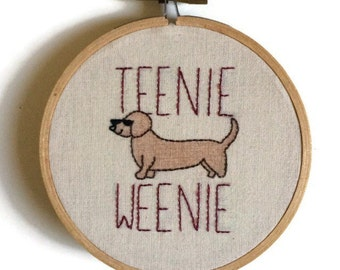 Dachshund embroidery, wiener dog embroidery, embroidered wall art, embroidered hoop art