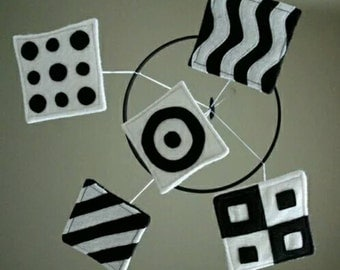 Black and white mobile for infants