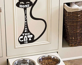 Home is Where the Cat is - Cat Vinyl Sticker Decal
