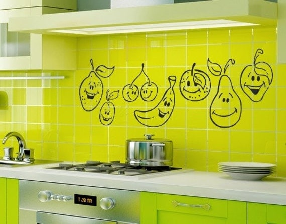 funny fruits for restaurant and kitchen decor art by laradecor