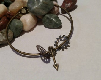 Two gears and arrow bangle! Handmade & one of a kind!