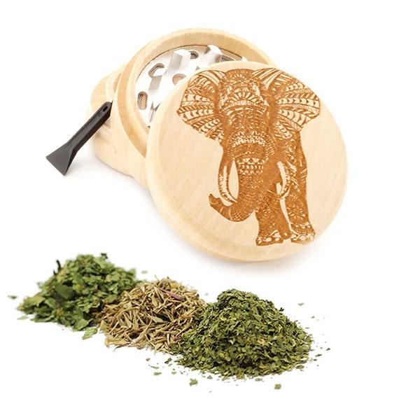 Elephant Engraved Premium Natural Wooden Grinder Item # PW042716-37