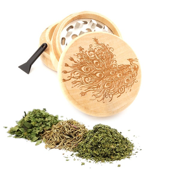 Peacock Engraved Premium Natural Wooden Grinder Item # PW050916-100