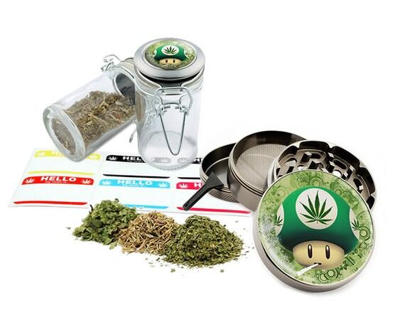 "Smoking Mushroom - 2.5"" Zinc Alloy Grinder & 75ml Locking Top Glass Jar Combo Gift Set Item # G123114-0041"