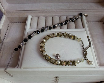 Crystal and Czech Beaded Bracelet - Avaliable in Silver/Black/Clear or Bronze/Gold/Pearl