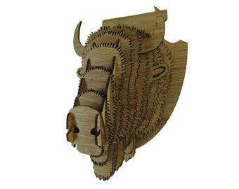 Size L: Wooden Animal Head Trophy Model Buffalo Bison