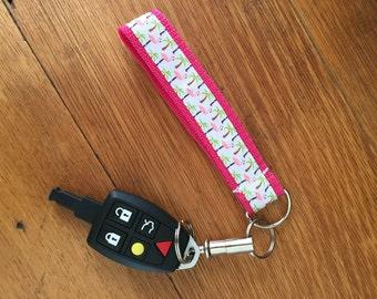 Flamingo and Palm Tree Keychain Wristlet