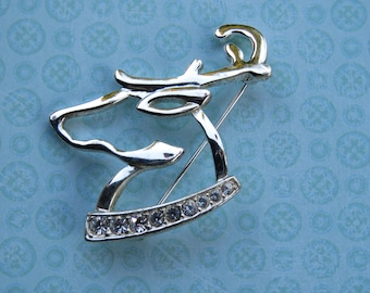 Vintage Napier Holiday Reindeer Christmas Brooch