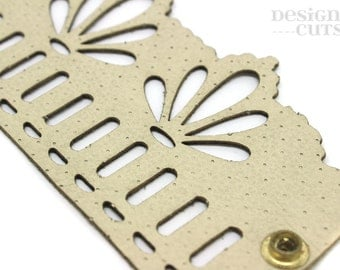 Laser cut leather cuff bracelet - Cream filigree design