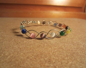 Beaded Anklet *Cancer Charity Listing* Wire Jewelry