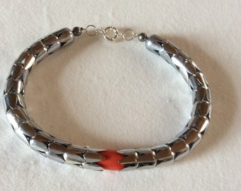 """Coppettone"" silver necklace with coral"