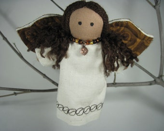 Coffee Angels With Brown Skin and Hair Handmade Ornaments