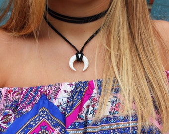double horn choker | double horn necklace | crescent necklace | crescent choker | crescent moon necklace | moon necklace | mothers day