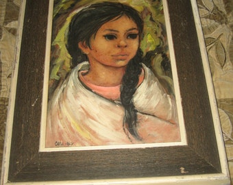 Signed Alta Listed Artist 1962 Mid Century Portrait Indian Girl Oil On Board! #BV