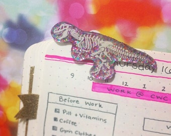 Tiny T Rex Dinosaur Planner Page Marker Set |  Bookmarks, Agenda Markers, Planner Accessories, Bullet Journal Markers, Bujo Clip