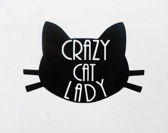 Crazy cat lady vinyl decal MacBook decal Cat sticker Laptop sticker Laptop decal  Cat lady decal Black cat sticker