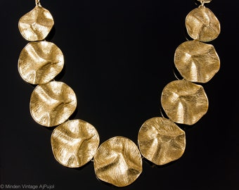 Vintage YSL Yves Saint Laurent Necklace Textured Round Gold Tone Metal 1980s