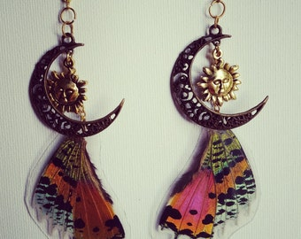 Sun and moon Madagascar Moth wing earrings